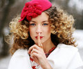 Beauty woman with curly hairs Royalty Free Stock Photos
