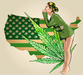 Beauty woman dressed t-short. Usa map green with marijuana leafs. Vector image