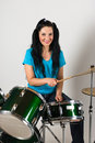 Beauty woman drummer Royalty Free Stock Photography