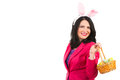 Beauty woman with easter basket bunny ears holding on shoulder copy space for text message in right part of image Royalty Free Stock Image