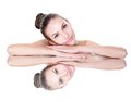 Beauty woman face with mirror reflection Royalty Free Stock Photo