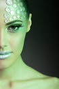 Beauty woman fashion make up with color gels rhinestone and professional and hairstyle studio lighting on stage Royalty Free Stock Photo