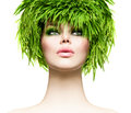 Beauty woman with fresh green grass hair nature model girl Stock Photos