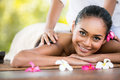 Beauty woman getting relaxation in spa salon smiling Royalty Free Stock Photo