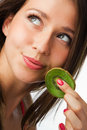 Beauty woman with kiwi Royalty Free Stock Photos
