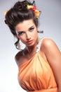 Beauty woman looks sensually into the camera Royalty Free Stock Photo