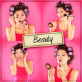 Beauty woman makeup concept collage series on pink applying make up lipstick mascara and blush getting ready to go out Stock Photos