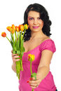 Beauty woman offering a fresh tulip Royalty Free Stock Image