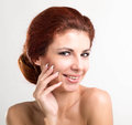 Beauty woman portrait beautiful spa touching her face Royalty Free Stock Photography