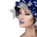 Beauty woman portrait with holiday hairstyle vogue style model christmas girl festive makeup in blue and silver isolated on white Royalty Free Stock Photos