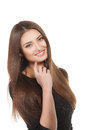 Beauty woman portrait of teen girl beautiful cheerful enjoying with long brown hair and clean skin isolated on white background Royalty Free Stock Photography