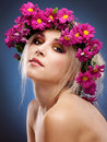 Beauty woman portrait with wreath from flowers Stock Photos