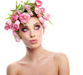 Beauty woman portrait with wreath from flowers on head over whit white background Stock Photography