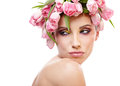 Beauty woman portrait with wreath from flowers on head over whit white background Stock Images