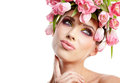 Beauty woman portrait with wreath from flowers on head over whit white background Royalty Free Stock Photography