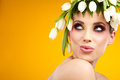 Beauty woman portrait with wreath from flowers on head over white background Royalty Free Stock Photos
