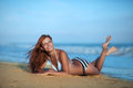 Beauty woman on sea beach Royalty Free Stock Photo