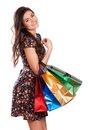 Beauty woman with shopping bags beautiful young colored isolated Royalty Free Stock Photo