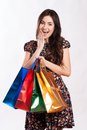 Beauty woman with shopping bags beautiful young colored isolated Royalty Free Stock Images