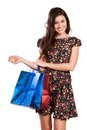 Beauty woman with shopping bags beautiful young colored isolated Royalty Free Stock Image
