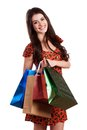 Beauty woman with shopping bags in mall Stock Photo