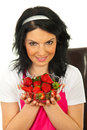 Beauty woman showing bowl with strawberries Royalty Free Stock Photo