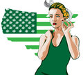 Beauty woman smoke joint. Usa map green with marijuana leafs. Vector image
