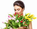 Beauty woman with spring tulip bouquet Royalty Free Stock Photo