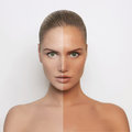 Beauty woman tan half face Royalty Free Stock Photo