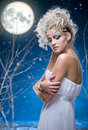 Beauty woman  under moon Royalty Free Stock Photo
