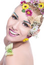 Beauty woman with wreath smiles at camera Royalty Free Stock Photo