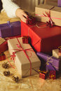 Beauty wrapped Christmas gift boxes Royalty Free Stock Photo