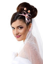 Beauty young bride with beautiful makeup na hairdress in veil over white background Royalty Free Stock Image