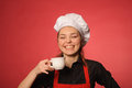 Beauty young cook with coffee portrait of or another hot drink Stock Photos