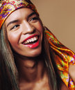 Beauty young happy afro american woman in shawl on Royalty Free Stock Photo