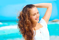 Beauty young healthy woman enjoying vacation over ocean background Royalty Free Stock Photo