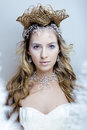 Beauty young snow queen with hair crown on her head, complicate hairstyle, winter concept Royalty Free Stock Photo