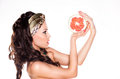 Beauty Young Woman Brunette Preferring Low Calorie Food - Citrus Stock Photography