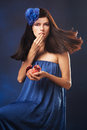 Beauty young woman fresh red pomegranate Stock Photography