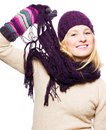 Beauty young woman with hat, gloves and scarf Royalty Free Stock Photo