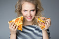 Beauty young woman with pizza Royalty Free Stock Photo