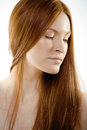 Beauty young woman with red flying hair close up Royalty Free Stock Photography