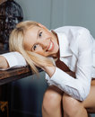 Beauty young woman in white shirt at home smiling friendly girl next door Royalty Free Stock Photos
