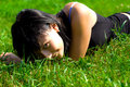 Beautyful girl on grass Stock Photos