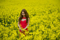 Beautyful teenager model in canola field beauty with red dress Royalty Free Stock Photo