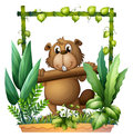A beaver carrying a log illustration of on white background Royalty Free Stock Photo