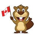 Beaver holding canadian flag Royalty Free Stock Photo