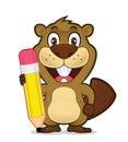 Beaver holding a pencil
