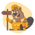 Beaver Holding Sign and Hammer Royalty Free Stock Photo
