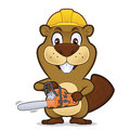 Beaver wearing a construction hat and holding a chainsaw